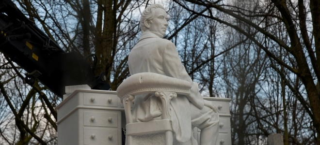 Statue of Thorbecke, the founder of parliamentary democracy, on Lange Voorhout in The Hague.