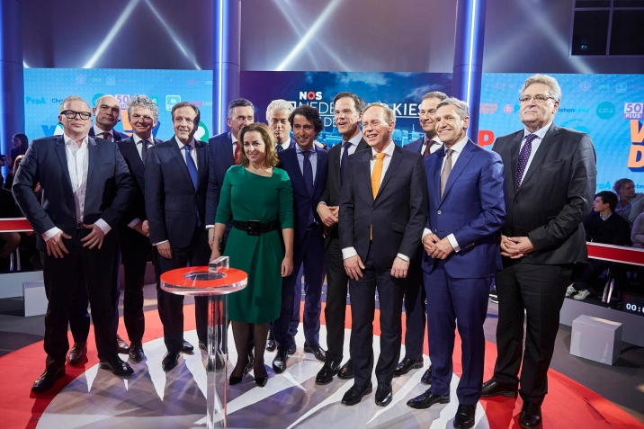 Participants to the final debate before the general election of 2017