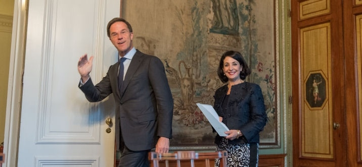 Formateur Rutte leaves the Stadholder's Room on 25 October 2017following the presentation of his final report to the President of the House,Ms Khadija Arib.