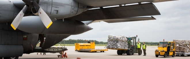 Airplane with relief goods. In 2014 a cargo plane of the Royal Dutch Airforce flew relief goods to Abril in North Iraq.