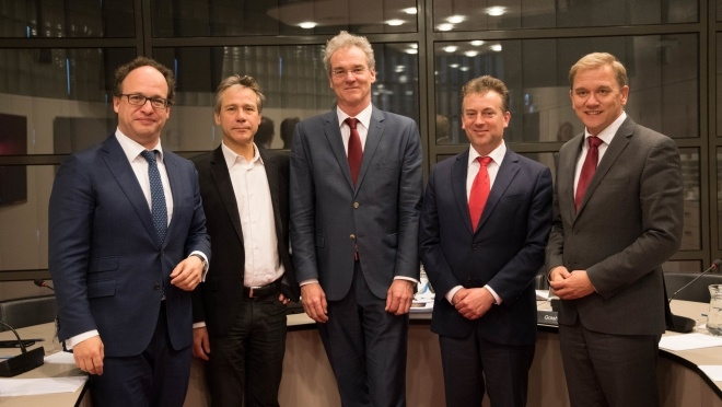 Parliamentary interrogation committee. From left to right: committee members Wouter Koolmees, Rik Grashoff, Ed Groot (chair), Arnold Merkies and Eppo Bruins
