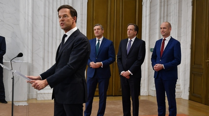 The leaders of the VVD, CDA, D66 and ChristenUnion groups commenting on the Coalition Agreement