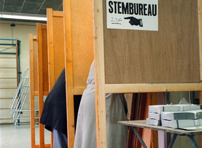 A voting booth during election day