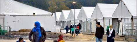 The Heumensoord tent camp near Nijmegen provides emergency accommodation to asylum seekers.