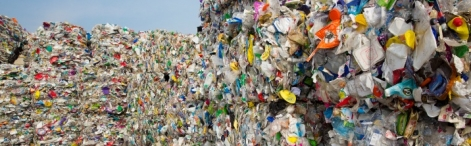 Plastic refuse being recycled into usable raw material